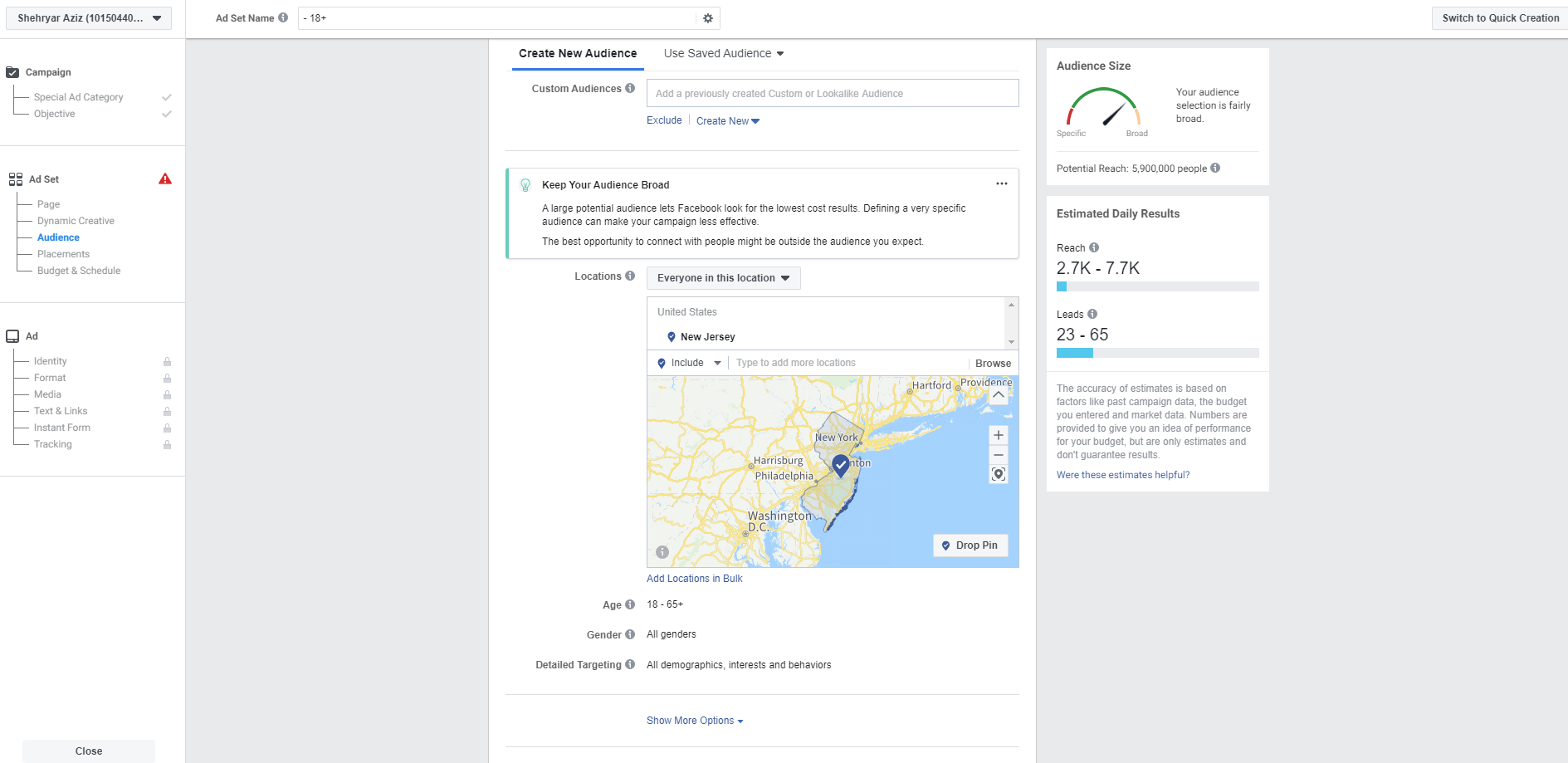 Setting up Facebook demographics, audience and interests